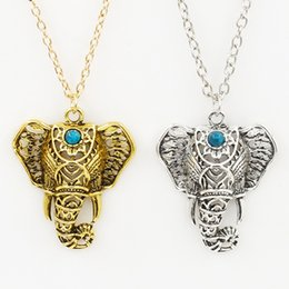 Wholesale antique elephant necklace - Pendant Necklace Women Boho Antique Necklaces Pendants Ethnic Turquoise Elephant Choker Necklace Chain Necklaces