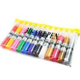 Wholesale Beautiful Drawings - 12 Colors Professional Beautiful 3D Nail Art Paint Drawing Pen Nail Art Polish DIY 12pcs set