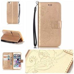 Étui papillon iphone 5s en Ligne-Pour iphone 7 6 6s plus le portefeuille gaufré en cuir Etui Flip Soft Gel Cover Fleur Papillon pour iphone 5 5s 5c 4s SCA200