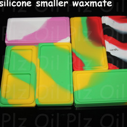 vaporizer pen holders Promo Codes - 100pcs Small Waxmate Containers Silicone Rubber Silicon Storage Square Shape Wax Jars Dab Tool Dabber Oil Holder for Vaporizer Pen Dry Herb
