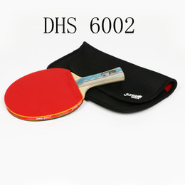 Wholesale aluminum paddles - Brand DHS 6002 Table Tennis racket with cover Rubber Professional China players training Pingpong Rackets paddle Christmas gift