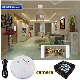 Wholesale Ip Spy Smoke Detector - Wireless Wifi IP P2P HD 1080P Spy Hidden Smoke Detector Camera Nanny Cam Video Recorder Home Office Security Camcorders Mini DV DVR