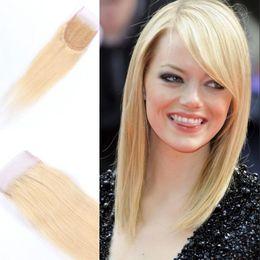 Wholesale Russian Parts - Russian Hair Blonde Color 613# Lace Closure 4x4 Premium Quality Free Part Straight Virgin Hair Closure FDSHINE HAIR