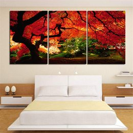 Wholesale Tree Life Artwork Paintings - Red Maple Trees 3 Panel Art Giclee Canvas Prints Artwork Modern Landscape Pictures Paintings on Canvas Wall Art for Home Office Decorations