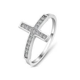 Wholesale Stamped Rings - Wholesale-Cross vintage rings for women vintage jewelry 2016 sterling silver ring classic cz design wholesale sideways ring stamped 925