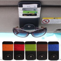 Wholesale Leather Car Visor Organizer - 2016 New universal car Visor glasses clip bill clip stowing tidying bag car accessories automobiles car organizer car styling