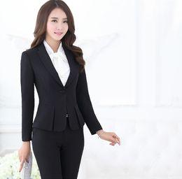 Wholesale Black Business Suit For Women - Wholesale-Formal Pant Suits for Women Business Suits Formal Office Suits Work Black Blazer Ladies Office Uniform Styles OL Pantsuits