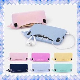 Wholesale Cute Mobile Pouches - Soft Silicone Whale Cute Cartoon Case Protective Mobile Phone Cover for iPhone 7 5 5s 6 6s Plus