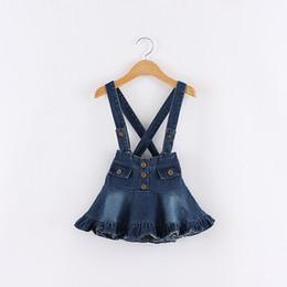 Wholesale Kids Spandex Clothing - Girls Denim Suspender Dresses Baby Girl Wash Blue Fashion Jean Dress 2016 Kids Girls Autumn Christmas Clothes children's clothing