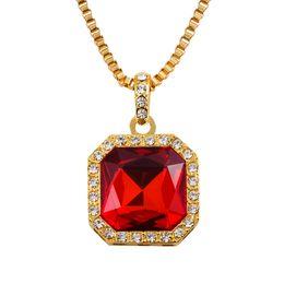 Wholesale Rich Link - Wholesale- Mens Iced Out Hip Hop Square Pendant Necklace Red Stone Charm Cuban Link Chain Women Necklaces Gold Rich Gang Birdman N212r