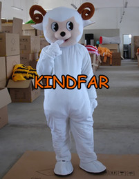 Wholesale Lamb Mascot Costume Sheep - Wholesale-Little Sheep Mascot Costume Goat Jumbuck Lamb Adult Size Fancy Dress Cartoon Outfit Suit Free Ship