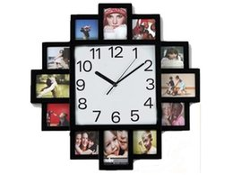 Wholesale Digital 12 Photo Frames - Digital photo frame wall clock Black Hanging Modern 12 Multi Photo Family Picture Frame 100pcs
