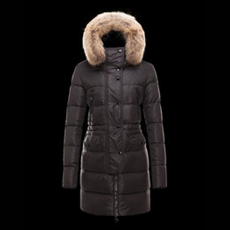 Wholesale Puffer Ski Jackets - New Long Parka Woman Real Fur Collar Jacket Puffer Duck Down Button Outdoor Ski Clothing Ladies Parka