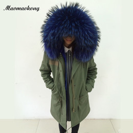 Wholesale Raccoon Hood - Lady Long furs parkas hood with real raccoon fur collar Cashmere inside women fur jacket in green