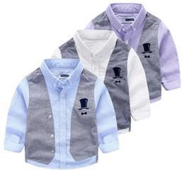 Wholesale Three Piece Vest For Kids - Vest gentlemen shirts false two-piece kid shirt turn-down button style three colors white purple blue for selection