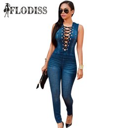 Wholesale Jeans Rompers For Women - Wholesale- Sexy Deep V-Neck Lace Up Jeans Jumpsuit for Women 2017 New Fashion Femme Denim Rompers Party Overalls Bodycon Bodysuit Macacao