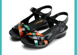 Wholesale Color Block Strap Heels - Genuine Leather shoes Women Sandals Shoes Woman Wedge Sandals 2016 Color Block Decoration flat Sandals Mom Shoes summer sandals Plus Size