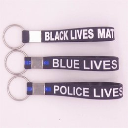 Wholesale European Bracelets Toggle - Keyring blue black police lives matter simple keychain wristband silicone bracelets Black Thin Blue Line Police Blue Lives Matter wristbands