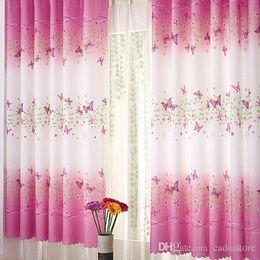 Wholesale Fixing Pocket Doors - 1Pc Fresh Countryside Ke Bridge Door Window Curtain Butterfly Printing Curtain Sheer Curtains E00625 SPDH