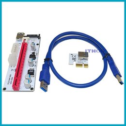 Wholesale Pin Adapters - 60cm PCI-E Express 1X To 16X Extender Riser Card Adapter USB 3.0 LED SATA 6 Pin Power Cable DC-DC For Mining XXM8