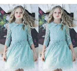 Wholesale Cheap Tutus For Little Girls - Tutu Flower Girl Dresses 2017 Vintage Blue Cheap Girl's Long Sleeve Kids Lace Wedding Dresses Toddler Pageant Gowns For Little Girls