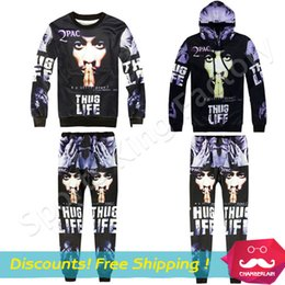 Wholesale Knitting Jackets Free - 2Pac 3D Jacket American hip hop artist Tupac Set Personalized sweater Makaveli sports shirt suit free shipping