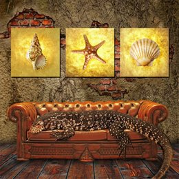 Wholesale Cartoon Flower Pictures - Wall decoration Unframed 3 Pieces picture free shipping Canvas Printing Starfish shell Conch flower Cartoon Butterfly honeybee Morning glory