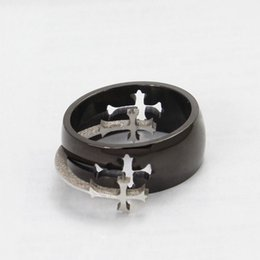 engagement platinum men ring UK - Top Quality Titanium Steel Cross Ring Moveable Cross Charms Titanium Ring Men & Women Jewelry Free Shipping