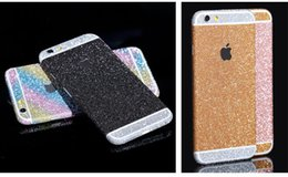 Wholesale Iphone Back Decal - Full body bling Decal glitter film sticker case cover for iphone 6 6plus High Quality PVC Soft iPhone infront & Back cover