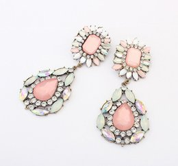 Wholesale Drop Shaped Stone Pendant - Top Boutique Stud Earrings Women Bohemia Style Pink Stone Earrings, Lady Party Big Drops Shape Pendant Earrings Free Shipping