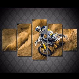 Wholesale picture painting ideas - 5 Pcs Set HD Printed Motocross car Painting Canvas Print room decor print poster picture canvas fun canvas painting ideas