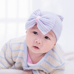 Wholesale Crochet Bows For Hats - Crochet Baby Spring Hat Newborn Beanie With Bow For Baby Girls Cotton Knit Beanie S Infant Striped Caps Toddler Hat Accessories