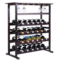 Wholesale Folding Wine Glass - New 24 Bottle Wood Wine Rack Holder Storage Shelf Display w  Glass Hanger