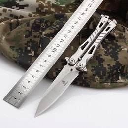 Wholesale Free Shipping Knives - K8067 Butterfly Training Knife Free Shipping Folding Knife Hand Sports Trainer Stainless Steel Handle Balisong Camping knifes