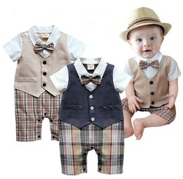 Wholesale Picture Full Moon - 1pcs Baby Boys Infant Gentleman Suit Body Suit With Tie Rompers Clothes Outfits Plaid Pants Climb Clothes Of Male Baby Full Moon Boys Shirt