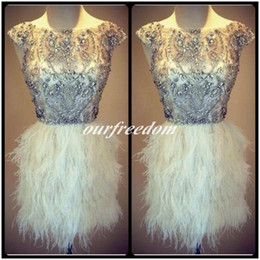 Wholesale Light Pink Ostrich Feathers - Charming 2016 Shealth Heavy Beaded Mini Short Ostrich Feather Cocktail Dresses Formal Evening Prom Party Gown Crew Neck Rhineston Custom