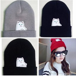 Wholesale Finger Knitting - Extend Middle Finger Cat Knitted Beanies Women's Winter Hats Fashion Couple lover Caps Cool Hip Hop skullies Hats for women and men S64