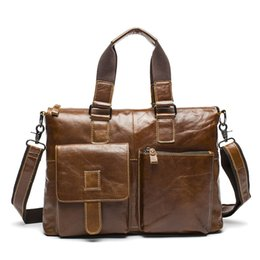 Wholesale Crazy Shoulders - Wholesale- Genuine Leather Men Bag Crazy Horse Leather Men's Handbags Casual Business Laptop Shoulder Bags Briefcase Messenger Bag 2016 NEW