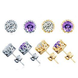 Wholesale Ear Rings Diamonds - Band New Crown Wedding Earring 2016 New 925 Sterling Silver Ear Rings CZ Diamonds Engagement Beautiful Jewelry love Earrings for women