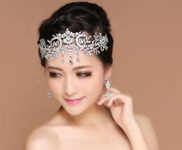 Wholesale Diamond Drops Decorations - Baroque style alloy diamond crown bride frontal angel fron Korean tal diamond decoration wedding tiara drop hair between the brows