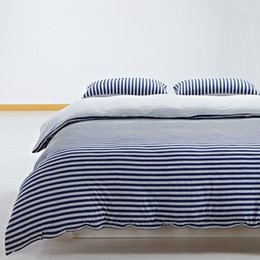 Wholesale Queen Suite - Japanese tianzhu cotton simple bed is tasted suite Stripe bedding set Cotton knitted 4 pcs