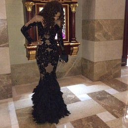 Wholesale Elastic Satin Dresses - Luxury Black Feather Prom Dresses With Long Sleeves Sheer Champange Arabic Evening Gowns Real Tulle Mermaid Formal Dresses Gowns Plus Size
