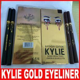 Wholesale Make Up Eye Liner - Kylie Birthday Edition Leo waterproof Black Eyeliner Liquid Make Up Beauty Eye Liner Pencil High Quality Gold Kylie Eyeliner Pencil 2 Colors