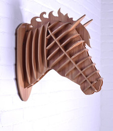 Wholesale Wooden Carvings Wall Art - Wooden horse wall decoration,crafts horse,animals head home decor,novelty items,3D DIY wood craft,wall art,horse wood carving