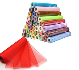 Wholesale Organza Lace Fabric Wholesale - Tulle Sheer Wedding Organza Roll Fabric Wedding Birthday Party Decoration Christmas Decorations DIY Sheer Organza Roll Tulle