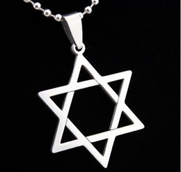 Wholesale Halloween Star David - Fashion necklaces David of Star Pendant 316L Stainless Steel necklace pendant Drop Charm women men jewelry