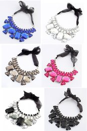 Wholesale Collar Necklace Beaded - Fashion Handmade colorful beaded geometric crystal stone Chokers necklace silk ribbon chain chokers collar XMAS holiday gift drop shipping