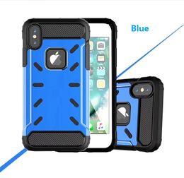 Wholesale Iphone Hard Gel Case - Carbon Fiber Hard For Apple iphone X 6 7 8 plus Case Metal+TPU+shockproof 3 in 1 Gel Skin Slim Armor Hybrid case for samsung Note 8 A5 A7 A3