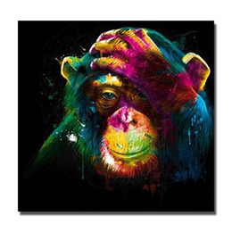 Wholesale Monkey Oil Painting Canvas - Free shipping modern abstract oil painting decorative wild animal wall pictures hand drawing oil painting monkey