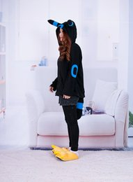 Wholesale Ears Hooded Outwear - Anime Shiny Umbreon Women Men Zip Hoodie with Ears Tails Cosplay Costume Hoody Jacket Coat Outwear Hooded Sweatshirt